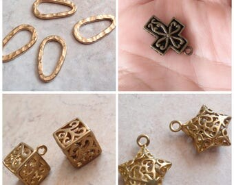 Destash Charms Connectors Gold Plated Four Sets