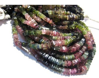 ON SALE 55% Tourmaline Beads, Square Heishi Beads Size 6 mm approx, 16 Inch Strand, Natural stone, Wholesale Price