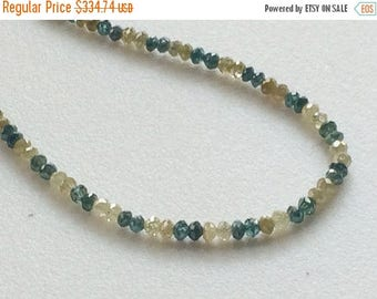 ON SALE 55% Blue & Yellow Sparkling Diamonds, Faceted Diamond Beads - Conflict Free Diamonds - Approx 3mm, 3 CTW, 22 Pcs
