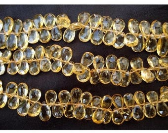 ON SALE 55% Citrine Faceted Beads - Pear Beads - 6x9-7x11mm Approx - 7 Inch Strand - 40 Pieces Approx