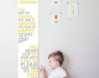 Custom/Personalized You Are My Sunshine canvas growth chart in yellow and gray- boy, girl, or gender neutral nursery decor- baby shower gift