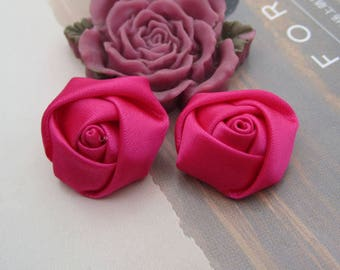 12 Roses, satin roses, flower, satin flower, satin fabric flowers, Satin ribbon Flowers, shocking pink flowers, applique rose 20x12mm