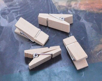50 small wood clips, small wooden pegs, small clothespin, cloth clip, small wooden clips, wood cloth pegs, unfinished wooden pegs 35x14x16mm