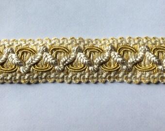 4 yard piece Flat Tape trim in ivory gold