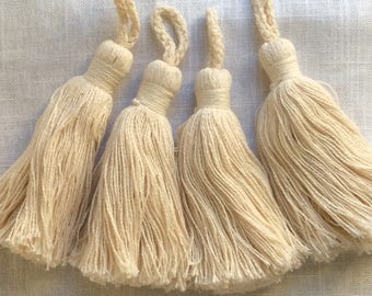 Four TASSELS  Cream cotton