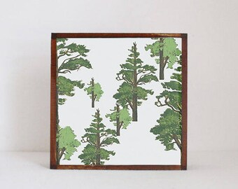woodland nursery art- pine tree art print- forest decor- nursery woodland art- tree print- nursery forest -tree decor- redtilestudio