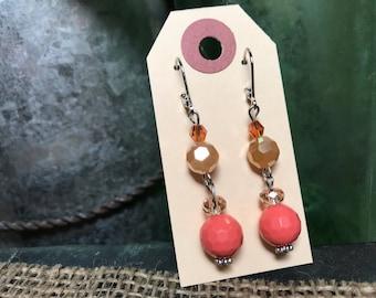 Earrings, peach, dangle
