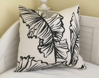 Lee Jofa Groundworks Banana Leaf in Black and White (on Both Sides)  Indoor Outdoor Pillow Cover - Square, Lumbar and Euro Sizes
