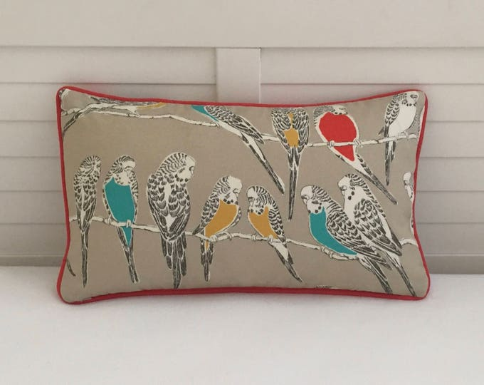 LABOR DAY SALE, Retweet Birds in Fruit Cocktail (on Both Sides) with Orange Piping Indoor Outdoor Pillow Cover - 12x20