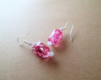 Beaded earrings, acrylic, french hooks, dangle, pierced