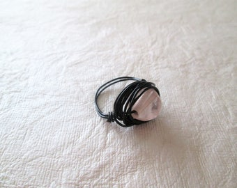 Beaded wire wrap ring, glass bead, size 8 3/4