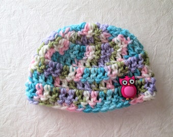 Baby hat, hand crocheted, owl button, choose size