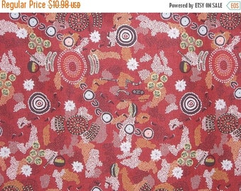 ON SALE Dancing Place Red Aboriginal Print Pure Cotton Fabric--One Yard