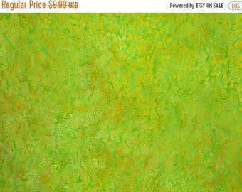 ON SALE Apple Green and Yellow Batik Cotton Fabric--One Yard