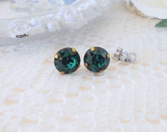 Emerald Studs, Emerald Glass Studs, Emerald Swarovski Studs, Green Stud Earrings, Crystal Stud Earrings, Emerald Bridesmaid, Glass Studs
