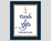 Cards and Gifts Shower Sign, Nautical Navy Blue & Gold Shower Table Sign, Wedding, Baby, Anchor, 2 Sizes, DIY Printable, INSTANT DOWNLOAD