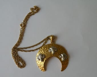 Aries Ram Sheep half moon pendant with chain. Matte gold and silver color.