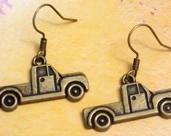 Elegant Antique Bronze Truck Earring