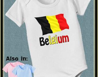 FLASH SALE short sleeve and long sleeve Belgium Flag baby infant bodysuit baby bodysuit, baby shower gift