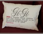Gi Gi Glamour Glamma Pillow throw pillow too young to be grandma pillow, GiGi Pillow, Gi-Gi glamour grandma pillow