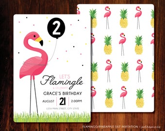 Flamingo Pineapple birthday invitation, party like a pineapple invitation - digital file