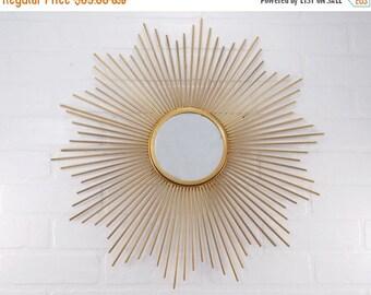 ON SALE Starburst Mirror / Retro / Atomic / Mid Century Modern Decor / Gold Mirror