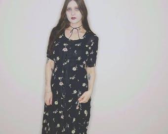 90s sheer floral short maxi dress medium