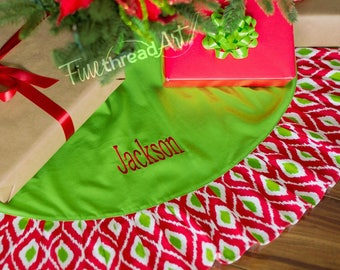 Red and Lime Green Ikat Pattern Cotton Christmas Holiday Tree Skirt with Ruffle Monogram or Name Embroidered