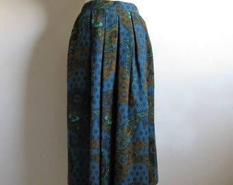 50OFF Event 80s Chester Weinberg Paisley Skirt Teal Wool Blend 1980s Dirndl Pleat Designer Skirt Medium
