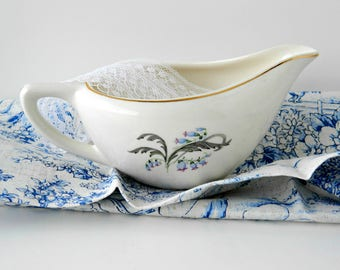 Floral Gravy Boat. Edwin Knowles Bluebells Replacement China. Vintage Tea Party Serving Tableware. Table Accent. Mid Century. Cottage Decor.