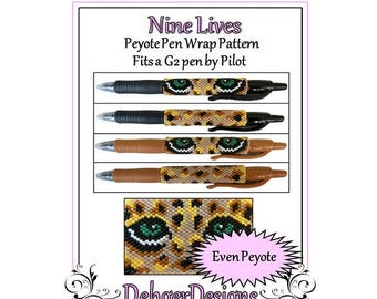 Peyote Beading Pattern (Pen Wrap/Cover)-Nine Lives