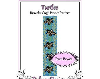 Bead Pattern Peyote(Bracelet Cuff)-Turtles