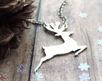 Silver Reindeer Necklace - Dashing Reindeer - Holiday Jewelry - Winter Necklace - Christmas Gift for Her - Nature Gift - Sterling Silver