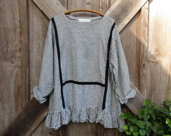 linen top blouse tunic in black white stripe ready to ship
