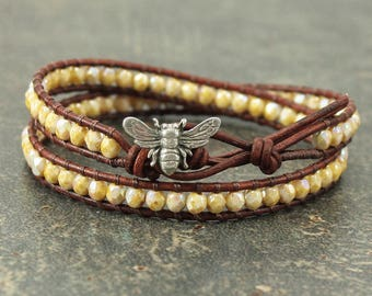Bee Jewelry Yellow Pale Gold Bee Bracelet Delicate Double Leather Wrap Bracelet