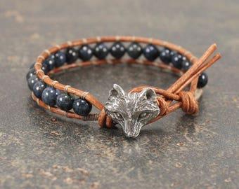Gemstone Fox Jewelry Denim Blue Fox Bracelet Single Leather Wrap Bracelet