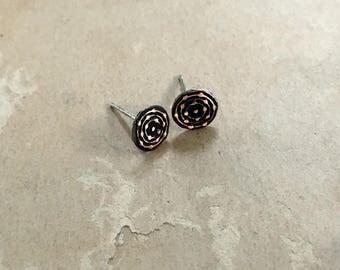 Teeny Tiny Earrings   Tiny Copper Stud Earrings   Copper Post Earrings