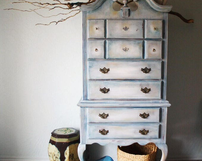 Featured listing image: Hand Painted Vintage Queen Anne High Boy Dresser