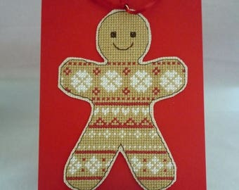 Gingerbread Person hand stitched ornament