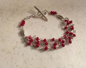 Red Bracelet - Sterling Silver Jewelry - Crystal Jewellery - Wire Wrapped - Layer