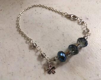 Blue Bracelet - Crystal Jewellery - Silver Chain Jewelry - Clover Charm - Fashion - Trendy