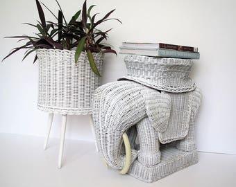 Vintage wicker elephant garden stool/ wicker elephant table/boho decor/global