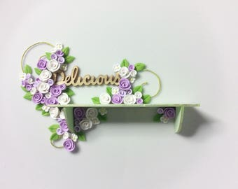 Dollhouse shelf with lilac and white roses to fit 1:12 scale miniature dollhouse