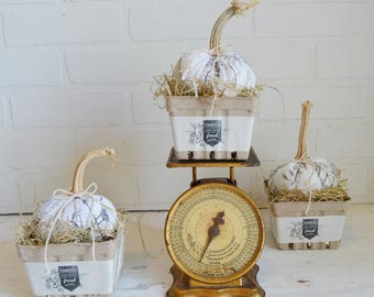 Farmhouse Pumpkin, Fabric Pumpkin, Farmhouse Fabric Pumpkin, Berry Basket, Pumpkin in Basket, Farmhouse Kitchen, Farmhouse Fall