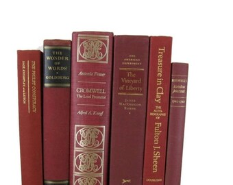 ON SALE NOW Red  Collection Vintage  Decorative Books for Wedding Decor, Home Decor, and Photography Prop