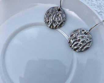 Fine Silver Patterned Disc Earrings