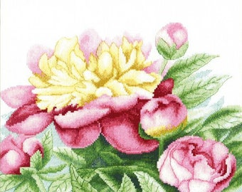 NEW UNOPENED Counted Cross Stitch Kit Charivna Mit BT-148 Poem of Peonies Flowers