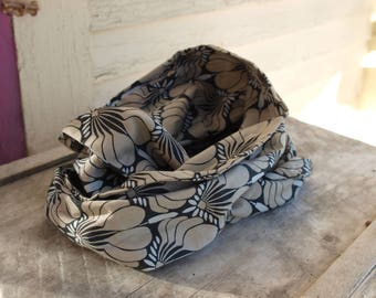Infinity Scarf--black and grey damask