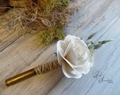 Ships in 5 days ~ Rustic Bullet Casing Boutonniere with Ivory Paper Rose