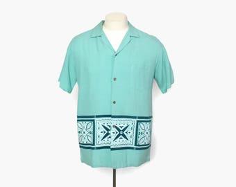 Vintage 60s Men's HAWAIIAN SHIRT / 1960s Reef Aqua Green Border Print Aloha Shirt M